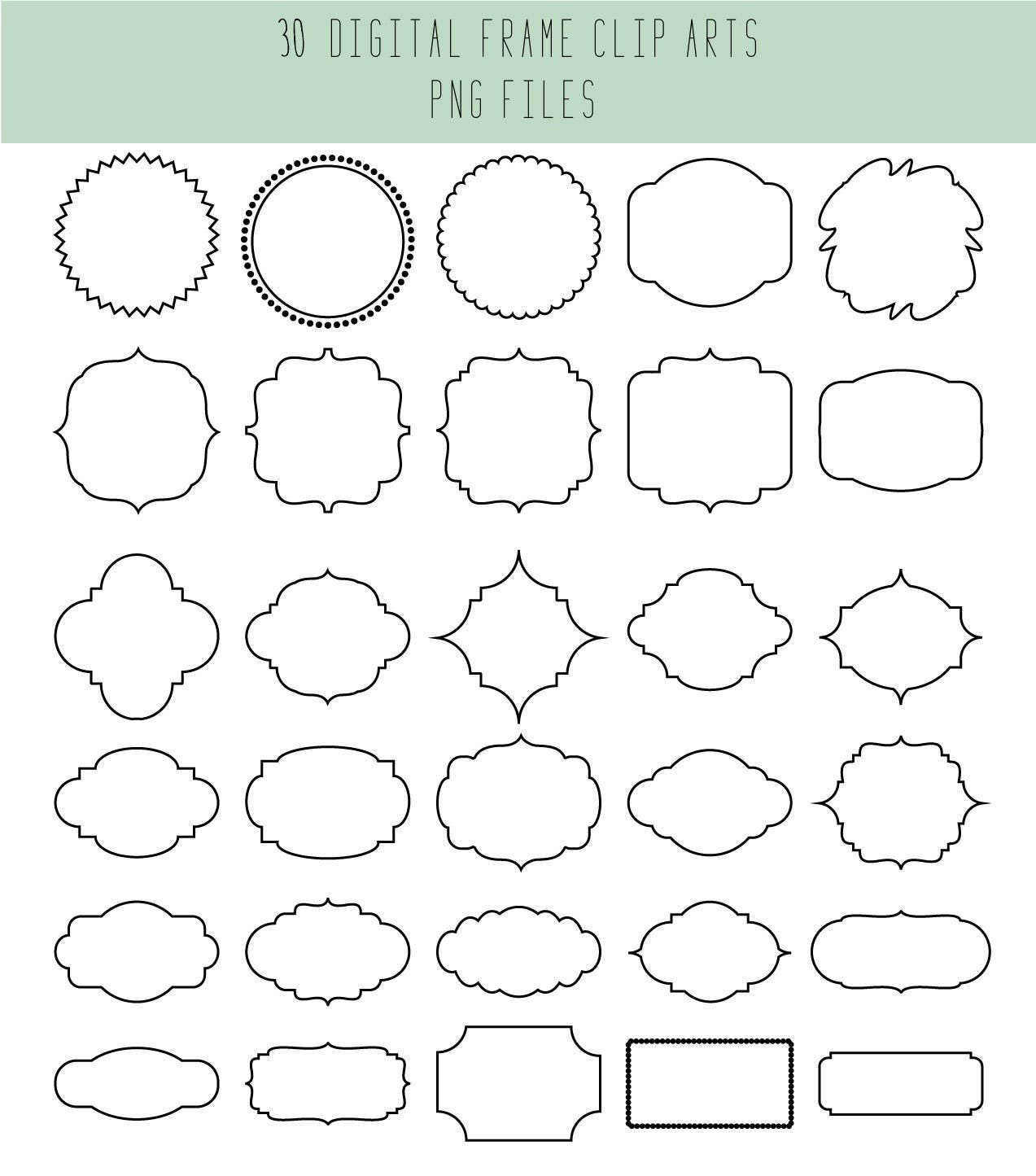 Clip Art Frames / Wedding label / Black and white / Wedding clip art ...