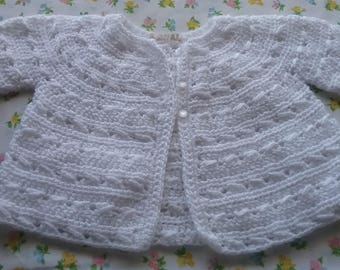 Baby Sweater Handknit, 9-12 Month Size Baby Cardigan, White Knitted Baby Sweater, Knit Baby Jumper, Hand Made Baby Sweater, Knit Baby Jumper
