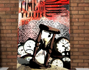 Time Is On Your Side Spray Painted Canvas - Original - Hourglass - Canvas Painting - Time - Spray Painting - Street Art Canvas - Clocks