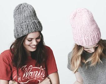 Chunky Hand Knitted 100% Alpaca Wool Beanie Hat OS