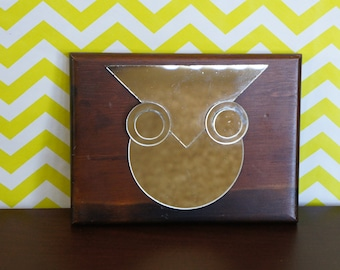 Mid Mod Mirrored Owl Wall Hanging