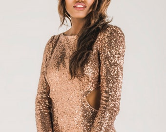 Rose gold sequin bridesmaid dress, rose gold sequin prom dress, backless sequin wedding dress, rose gold sequin backless reception dress
