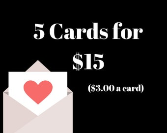 Bundle of 5 Greeting Cards - Your Choice