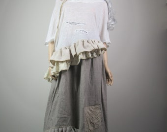 Lagenlook Boho Skirt Long Linen Maxi Rustic Shabby Chic Mori Girl with Ruffles & Pocket Taupe Cream One Size Fits S - L