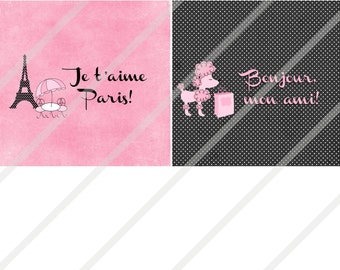 Bonjour Paris Poodle Eiffel Tower Candy Bar Wrappers Digital Download or Print
