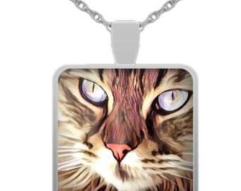 Cat Necklace - Cat Face - Cat Eyes - Cat Jewelry - Silver Plated Square Pendant Necklace - Cat Lover Gift - Gift For Her