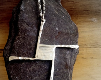 St Brigid's cross pendant Sterling silver, cross pendant handmade using silversmith methods in my work studio in Scotland