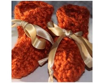 Orange Fall Preemie Baby Booties - Crocheted Baby Booties - Baby Gift