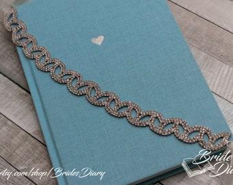Wedding hair jewelry, bridal wreath, wedding hair vine, bridal rhinestones hairband