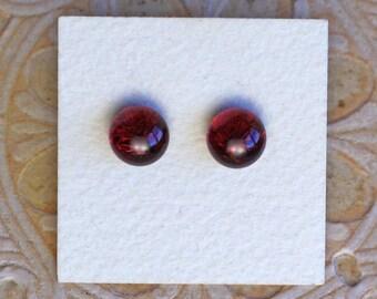 Dichroic Glass Earrings, Burgundy  DGE-1164