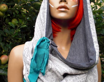 Grey Soft Textured Cowl Neck Snood Hood Circle Scarf Charcoal Grey Jersey Lining with Teal Turquoise