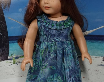 Hawaiian sundresses in choice of blue or green for American Girl or similar 18 inch doll