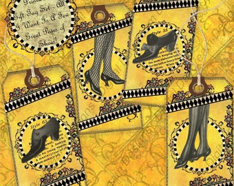 Instant Download Digital Collage Sheet Gift Tag Set - All I Want Is a Few Really Great Pairs of Shoes