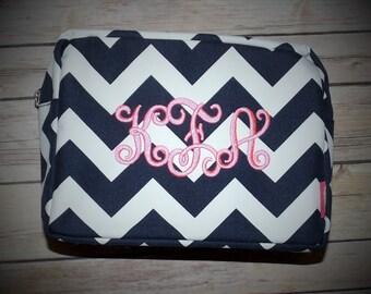 Monogrammed Cosmetic bag, chevron Cosmetic bag, monogrammed cosmetic bag, Cosmetic bags, makeup bag, monogrammed makeup bag