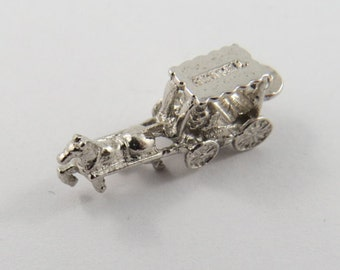 Small Horse and Carriage Sterling Silver Charm or Pendant.