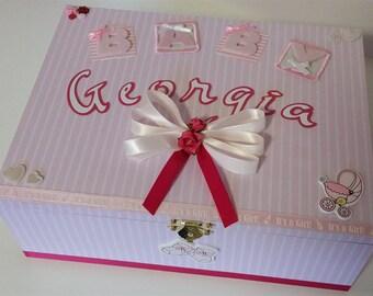 Baby Girl Personalised Box, Keepsake Box, Trinket Box, Treasure Box, Memory Box, Wooden Box, Baby Box