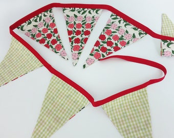 Pennant Banner Flag Garland Bunting Wall Decor made from Vintage Floral Fabric in Pink, Cream, Green and Burgundy