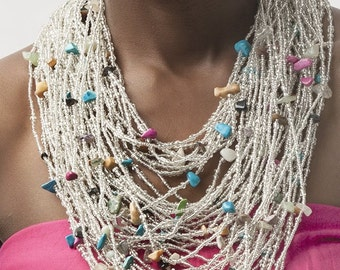 African Jewelry-jewelry-Ethnic-African Necklace-Handmade-Beaded-Chunky Beaded and Gem Stone Natural Bib Necklace