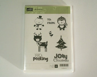 Stampin Up Retired No Peeking Clear Mount Stamp Set - Christmas Themed
