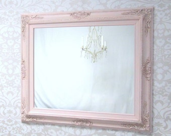 "PINK NURSERY MIRROR Baby Girl Nursery Decor Baby Nursery Mirror 31""x27"" - AnY CoLOR- Decor Shabby Chic Pink Mirror Framed Pink Mirror"