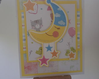 Colourful handmade card for new baby
