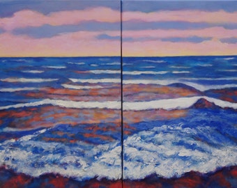 """Acrylic Painting Seascape on canvas in Two Parts Blues, Reds, Pinks.  24"""" high x 36 wide total by Zuelsdorf"""