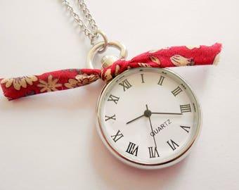 pocket watch necklace - watch necklace - silver watch necklace - watch pendant - liberty necklace - watch jewelry