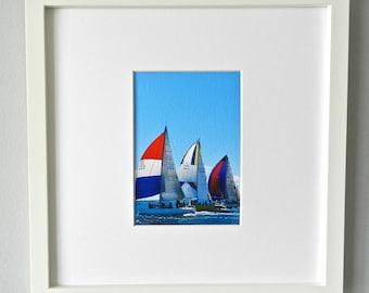 Framed Sailboat Photography, Framed Nautical Art, Sailboat Print, Nautical Print, Square Sailboat Art,Red White Blue Wall Art,West Elm Frame