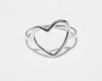 Open Heart Silver Ring, 925 Sterling Silver, Heart Ring, Minimalist Ring, Modern Open Heart Ring, Dainty Ring, Simple Heart Ring