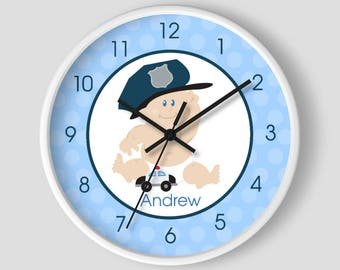 Boy Baby Cop Police Officer Law Enforcement Baby Nursery Room Wall Clock / Police Officer Baby Shower Gift