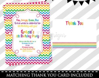 Rainbow Birthday Invitation - FREE Thank You Card