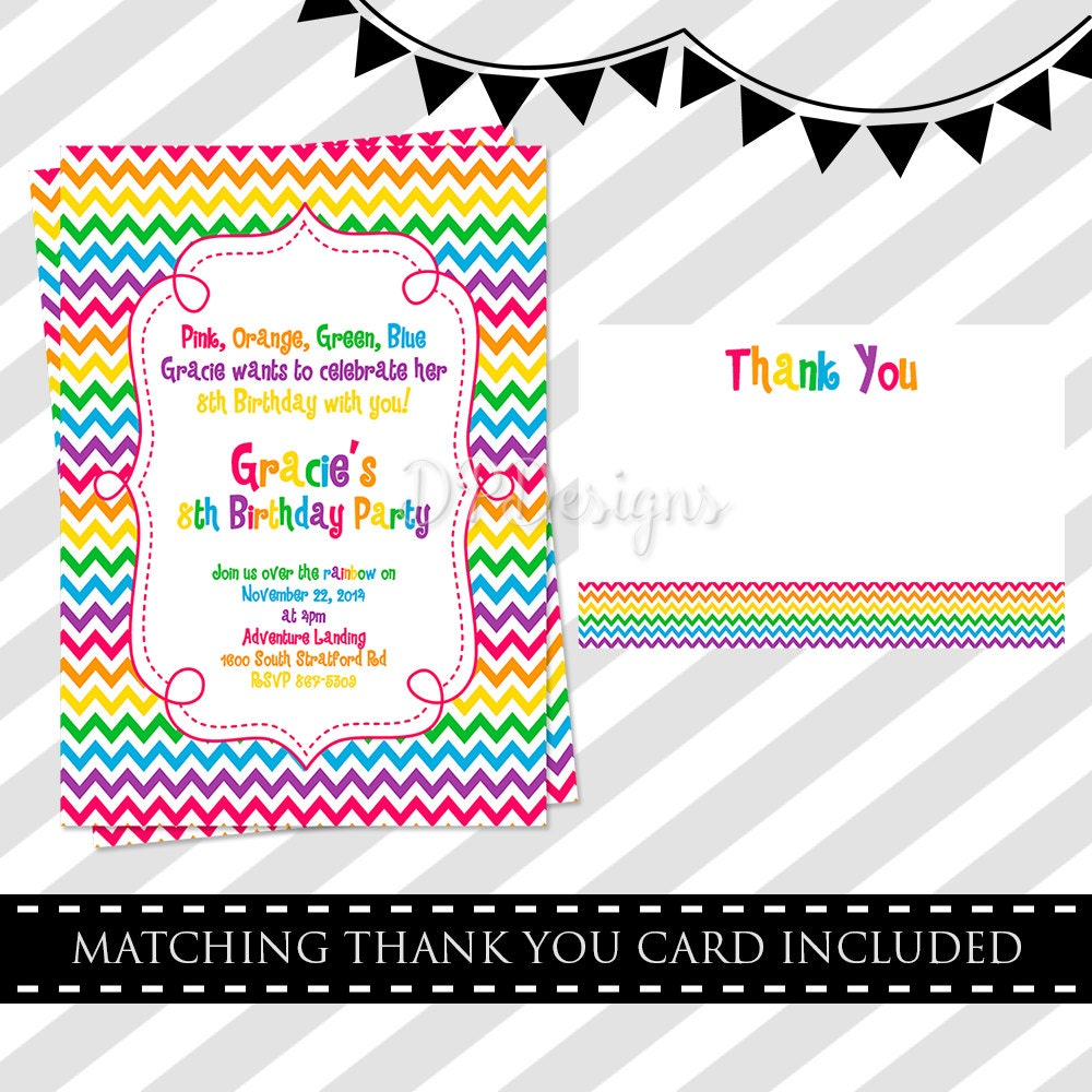Rainbow Birthday Invitation FREE Thank You Card
