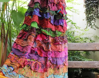 ARIEL ON EARTH - Patchwork Floral Printed Cotton Ruffle Tiered Skirt - SH1710-04-01