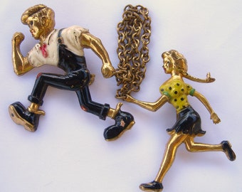 Lil Abner and Daisy Mae Comic Book Characters, Chatelaine Brooches 1940s Comics Antique Pins