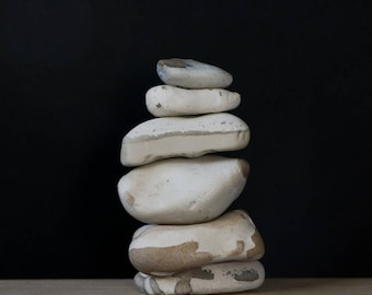 Set of Beach Stones - Rock Cairn - Balance Stack - White Pebbles