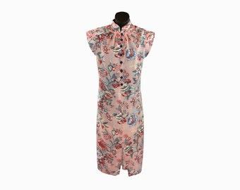 1950s-1970s Vintage Dress / Chinese Style Dress / Cheongsam / Handmade Vintage / Floral Pattern / Shirt Dress / Peach Dress / Knee Length