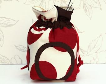 Red, Brown, Cream Knitting Bag, Lined Knitting Project Bag, Large Shawl Project Bag, Crochet Drawstring Bag, Knitting Gift
