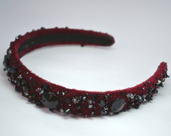 Burgundy Baroque Headband Czech Beads Headpiece Prom Velvet Headband