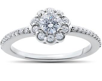 1/2ct Diamond Engagement Ring 14K White Gold