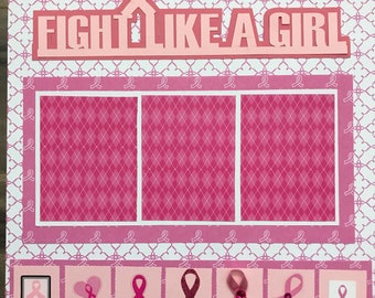 """Breast Cancer 12x12"""" 2-page layout"""