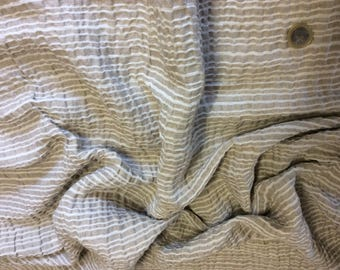 Fabric cotton weave striped shirt or blouse, ruffled appearance