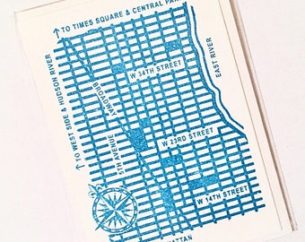 Blue NYC Street Map Greeting Card