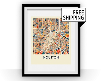 Houston Map Print - Full Color Map Poster
