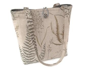 Beige handbag, Brown hand bag, Quilted handbag, Cotton purse, Shoulder tote brown, Shoulder bag printed, Nature print tote Tote bag quilted