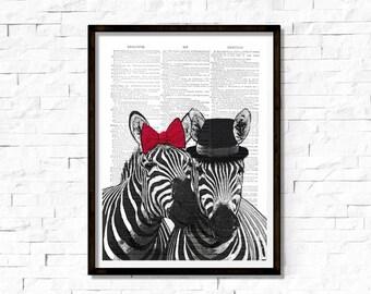Miss And Mister Zebra Print , Zebra Art Print, Zebra wall art, vintage dictionary page book art print.