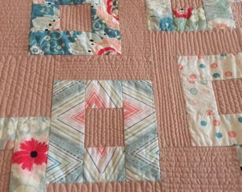 Aqua and Tan Modern Throw Quilt, Hand Made Modern Quilt, Floating Squares Quilt