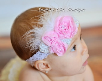 Baby Headband, Infant Headband, Newborn Headband, Shabby Chic Headband, Light Pink Headband, Light Pink Rosette Headband with Feathers