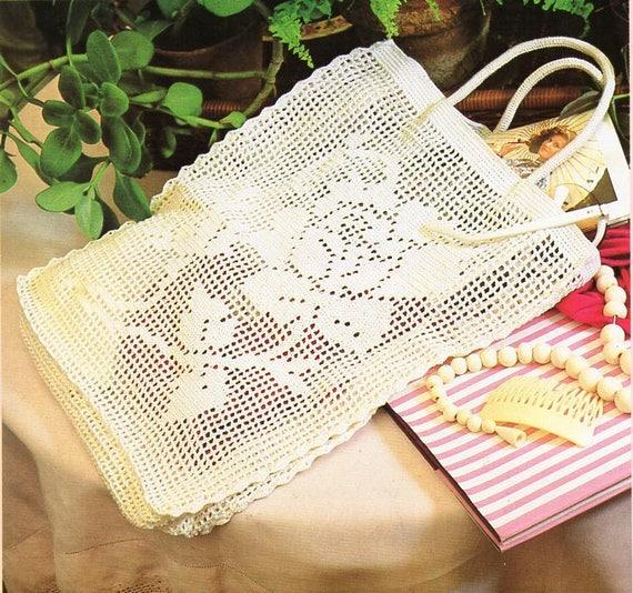 Filet Crochet Bag Pattern Crochet Pattern Pdf Rose Motif Flower