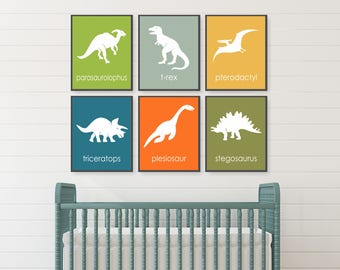 Dinosaur Wall Art, Nursery Art, Dinosaur Decor, Dinosaur Print, Boys Dinosaur Room, Science Nursery, Triceratops, Trex, Toddler Wall Art