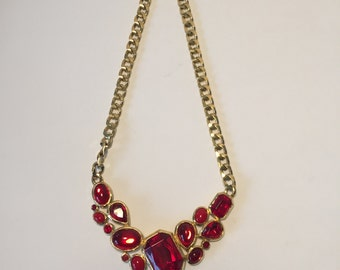 Trifari Vintage-Collier 70 He years, statement necklace, red stones
